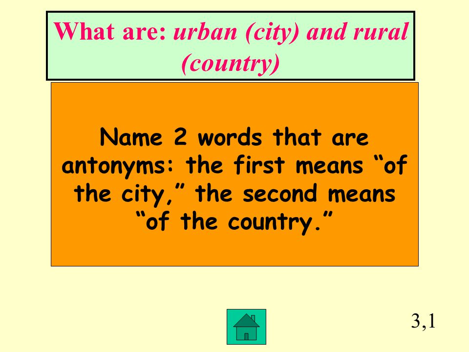 What are: urban (city) and rural (country)