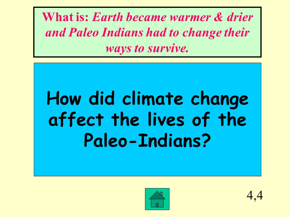 How did climate change affect the lives of the Paleo-Indians