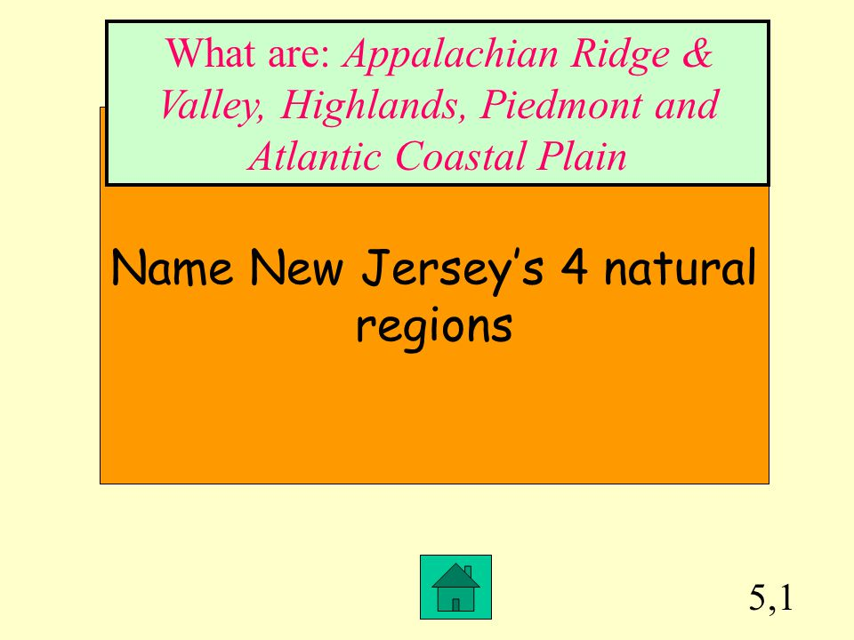 Name New Jersey's 4 natural regions