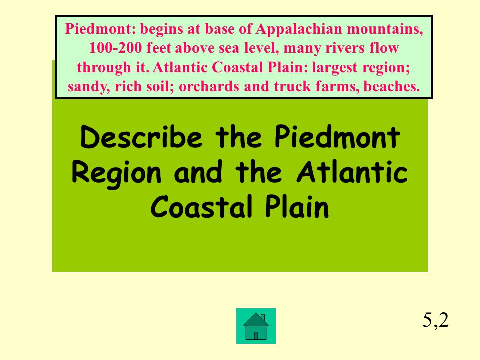 Describe the Piedmont Region and the Atlantic Coastal Plain