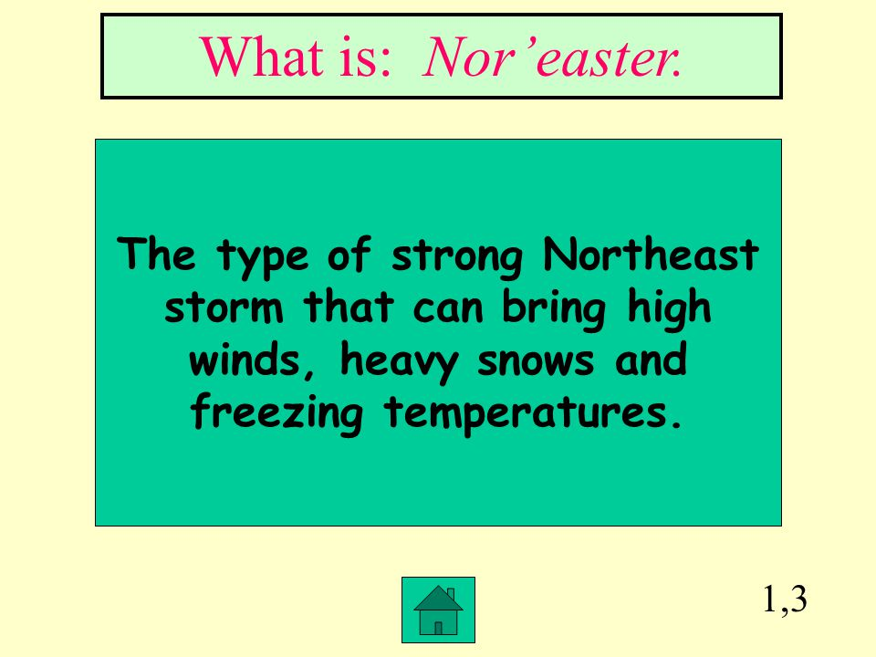 What is: Nor'easter. The type of strong Northeast storm that can bring high winds, heavy snows and freezing temperatures.