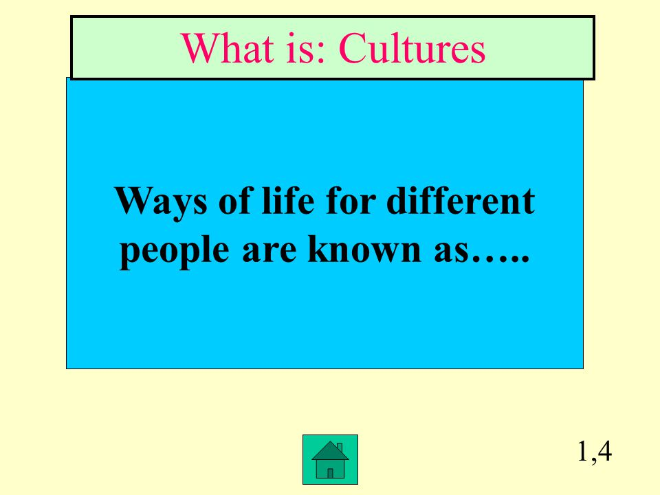 Ways of life for different people are known as…..