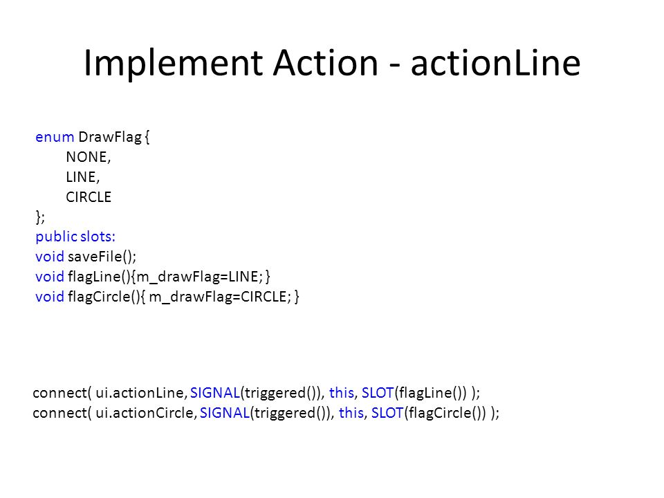 Implement Action - actionLine