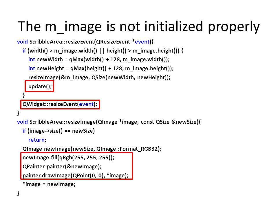 The m_image is not initialized properly