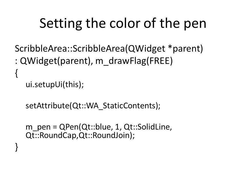 Setting the color of the pen