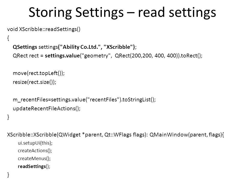 Storing Settings – read settings