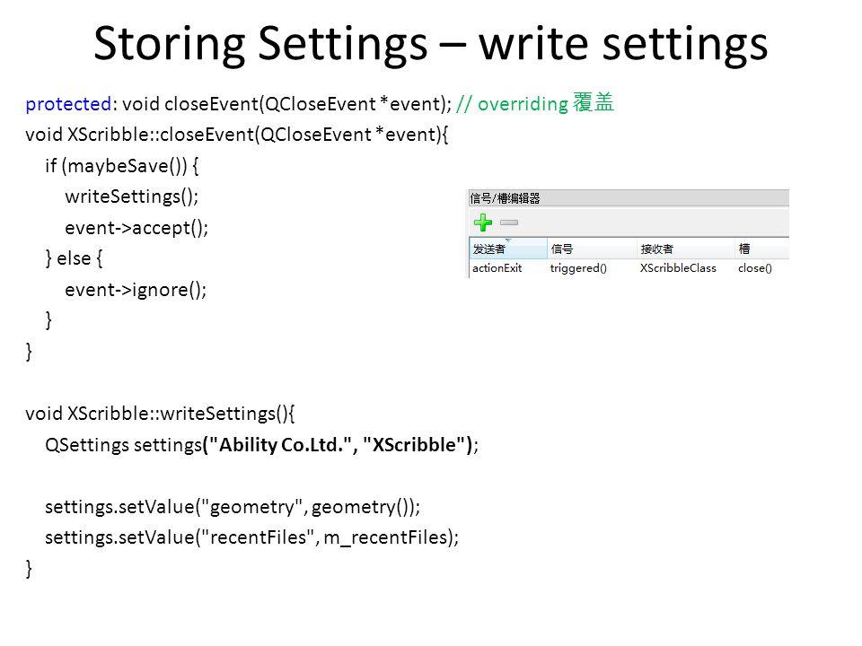 Storing Settings – write settings