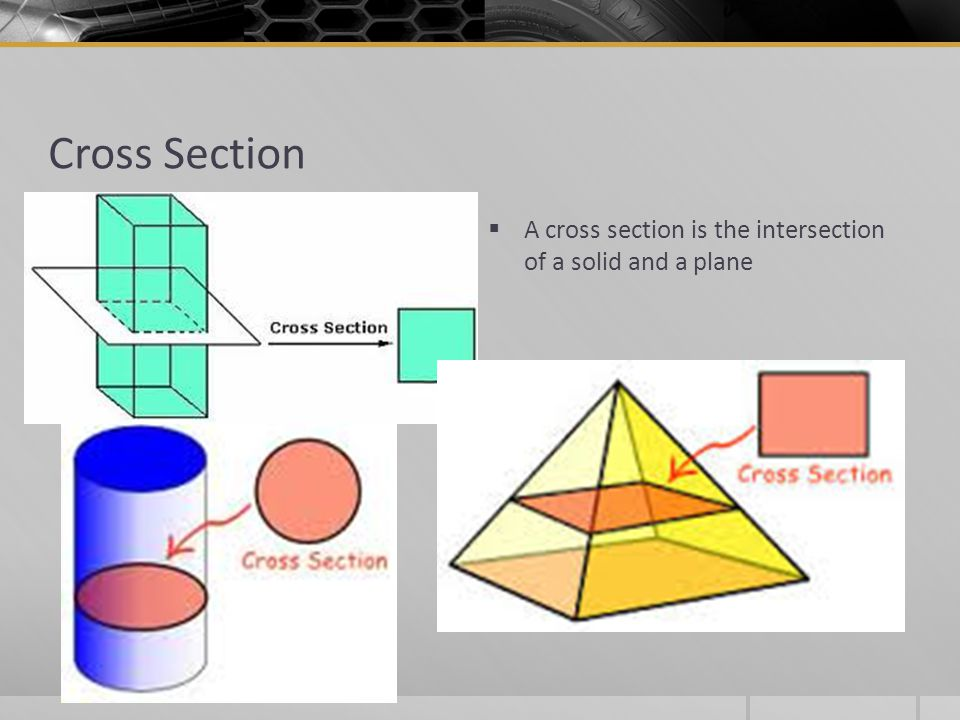 Cross Section A cross section is the intersection of a solid and a plane