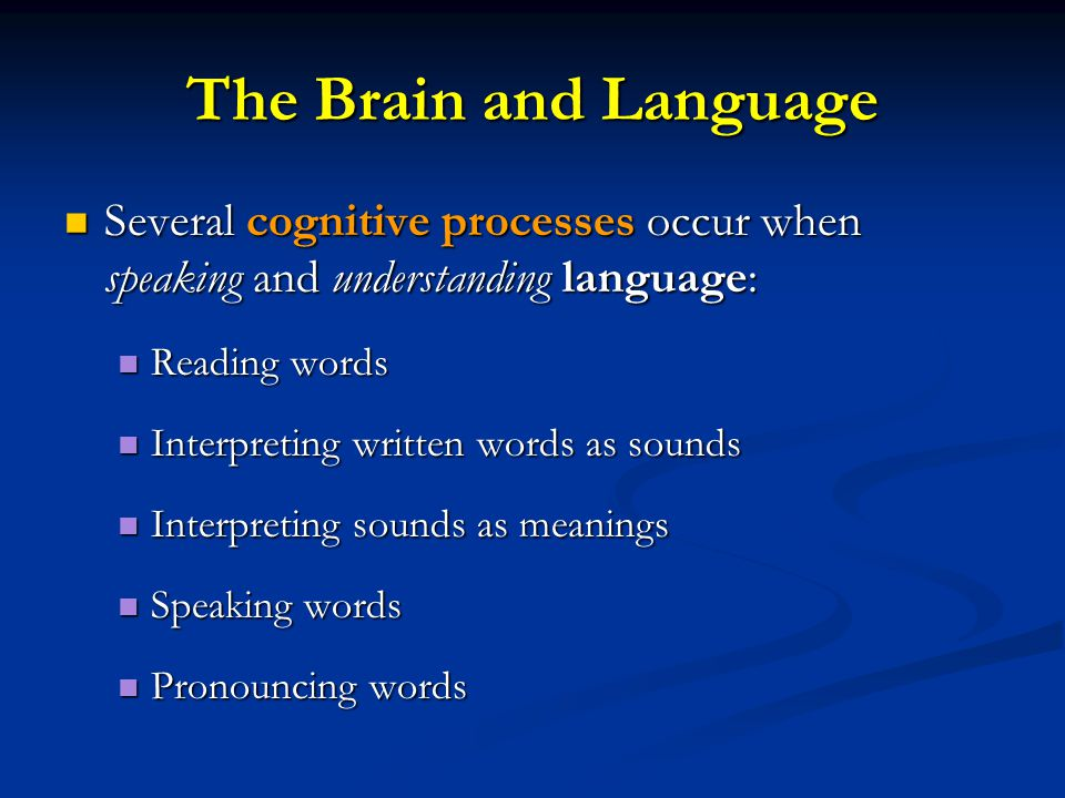 The Brain and Language Several cognitive processes occur when speaking and understanding language: Reading words.