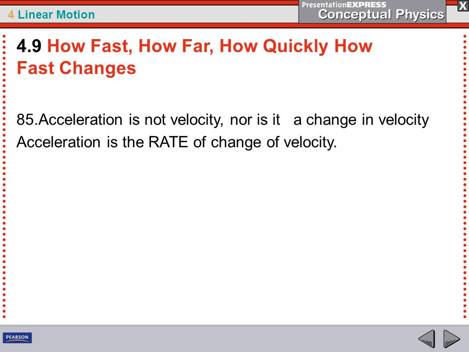 4.9 How Fast, How Far, How Quickly How Fast Changes