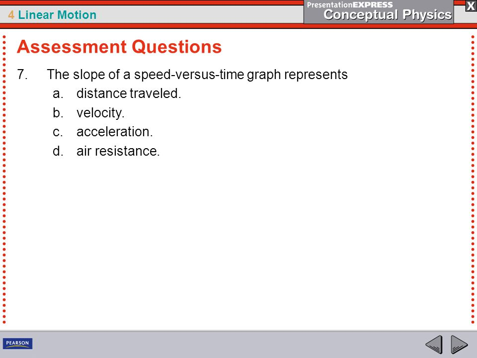 Assessment Questions The slope of a speed-versus-time graph represents