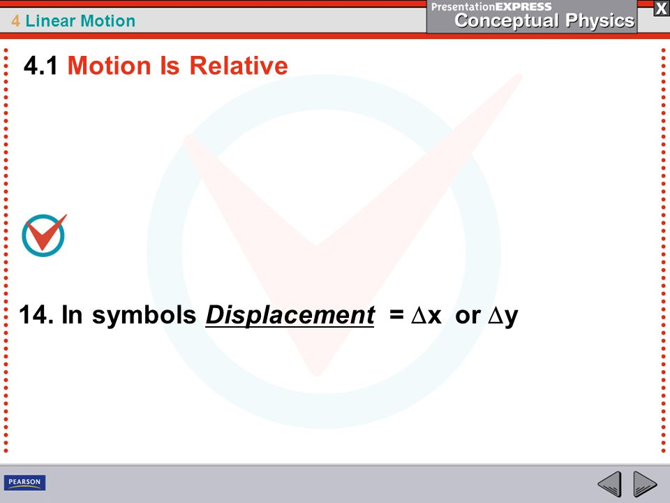 4.1 Motion Is Relative 14. In symbols Displacement = Dx or Dy