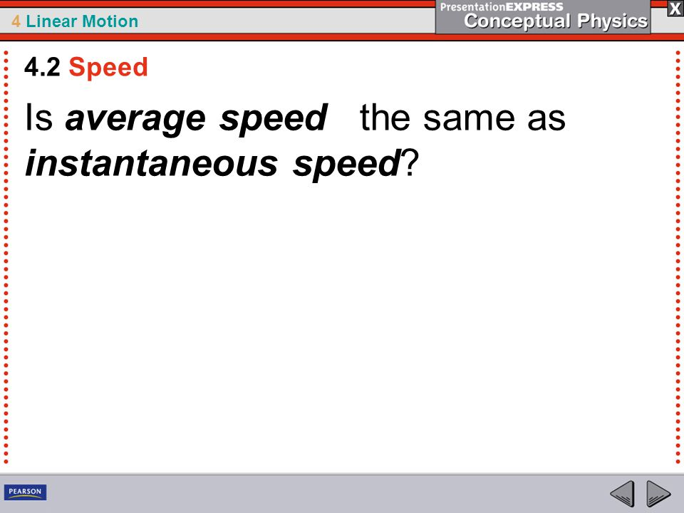Is average speed the same as instantaneous speed