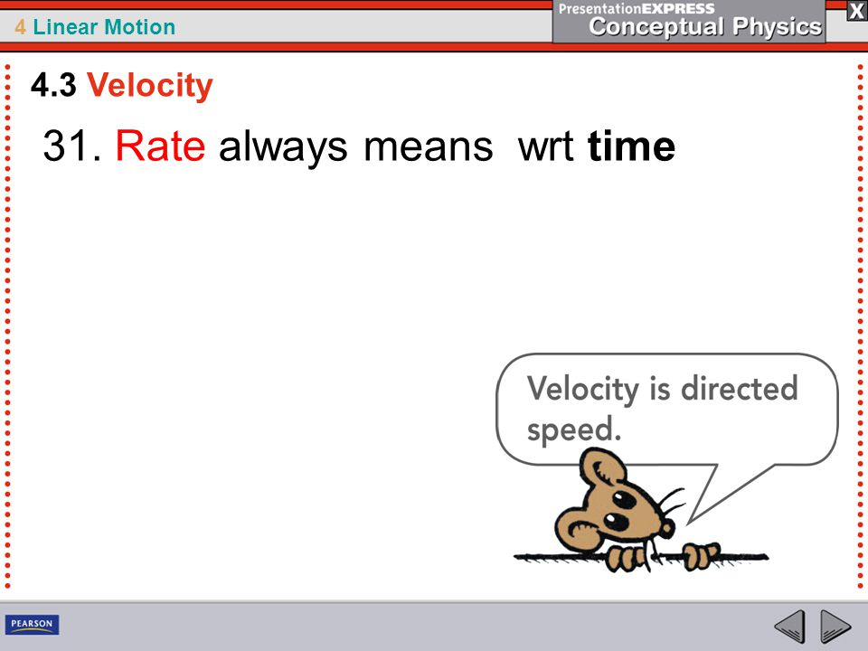 31. Rate always means wrt time