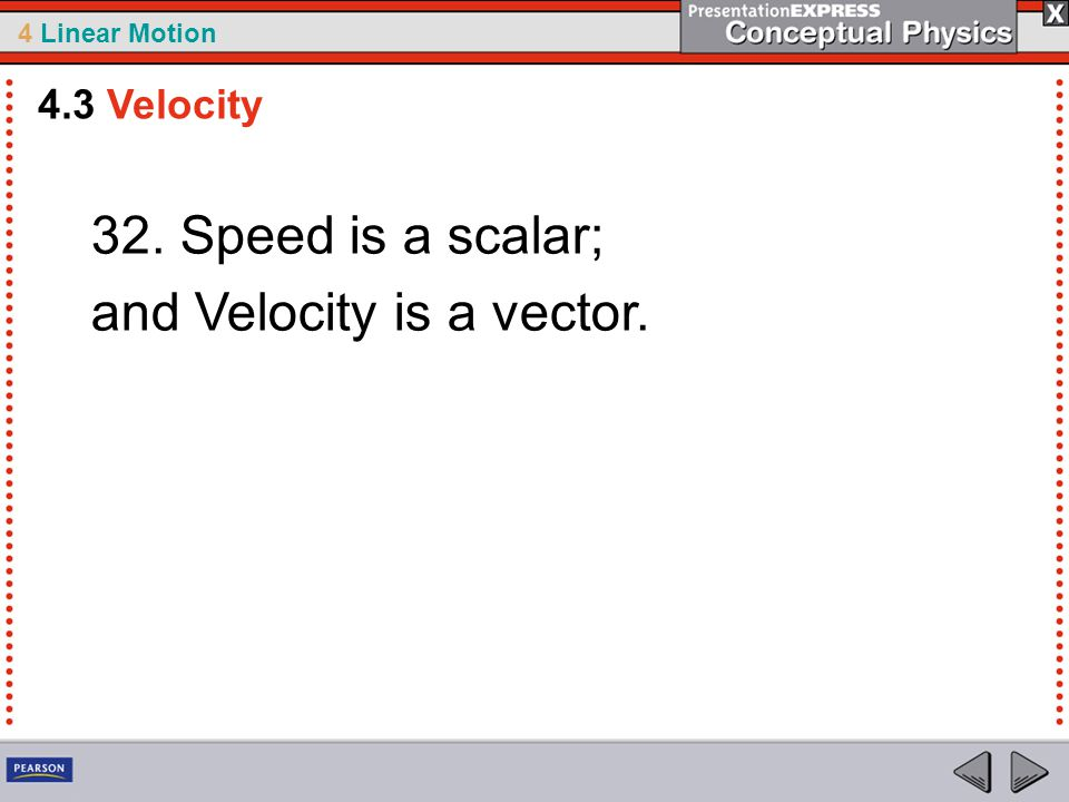and Velocity is a vector.