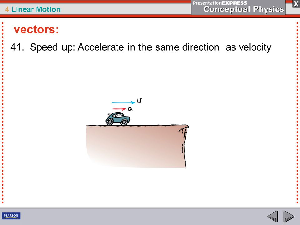 vectors: 41. Speed up: Accelerate in the same direction as velocity