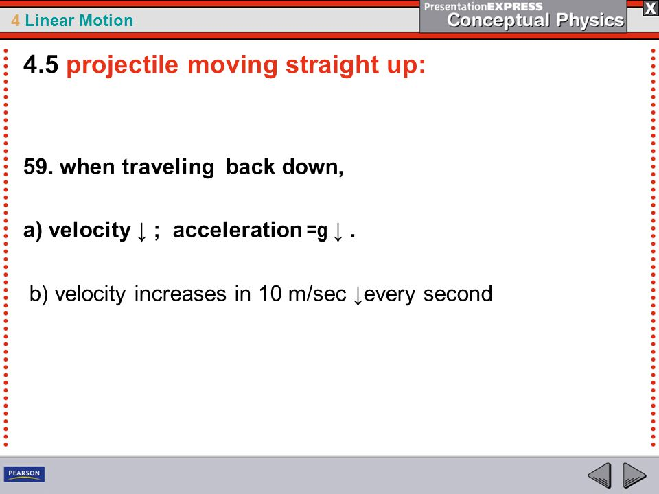 4.5 projectile moving straight up: