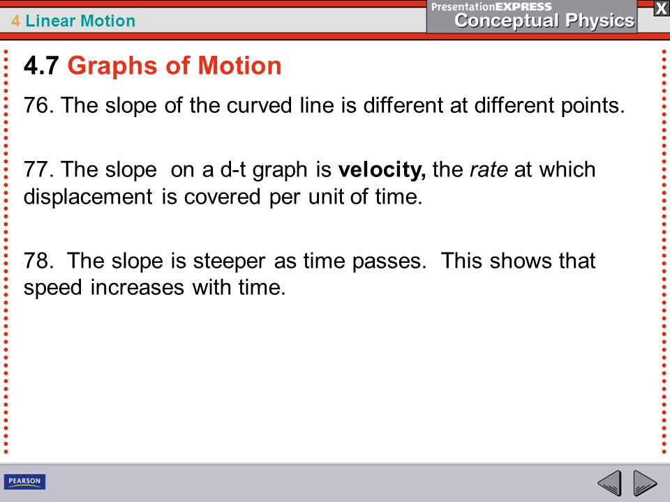 4.7 Graphs of Motion 76. The slope of the curved line is different at different points.
