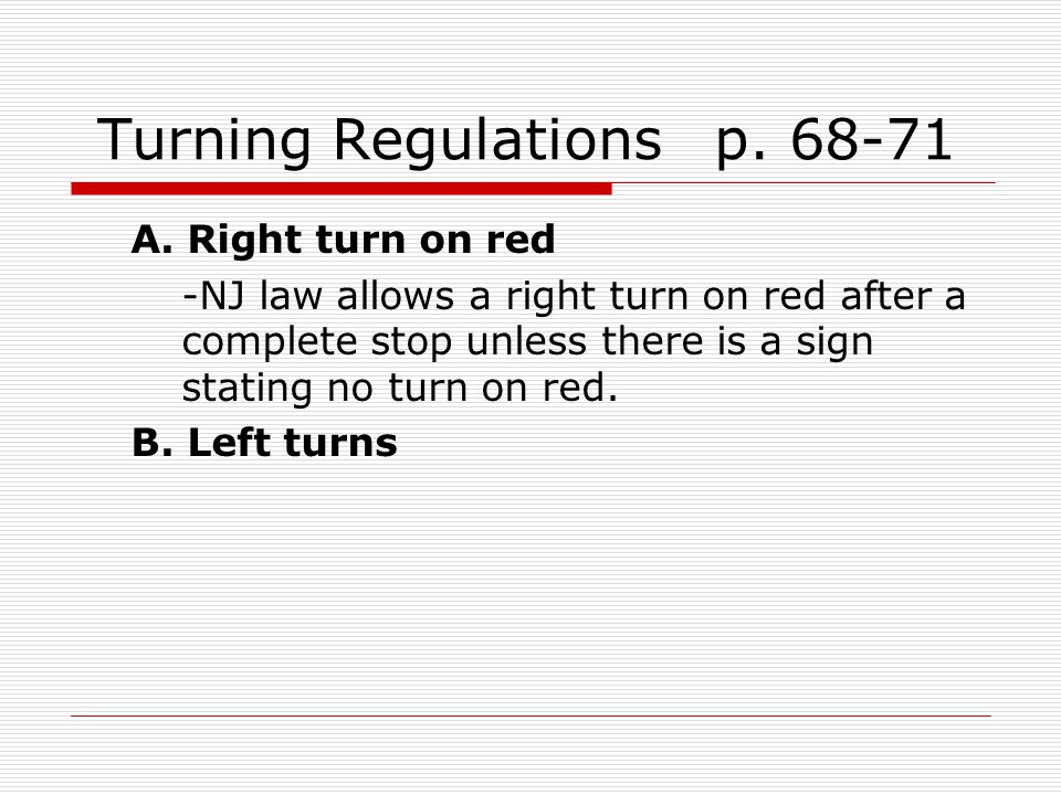 Turning Regulations p. 68-71