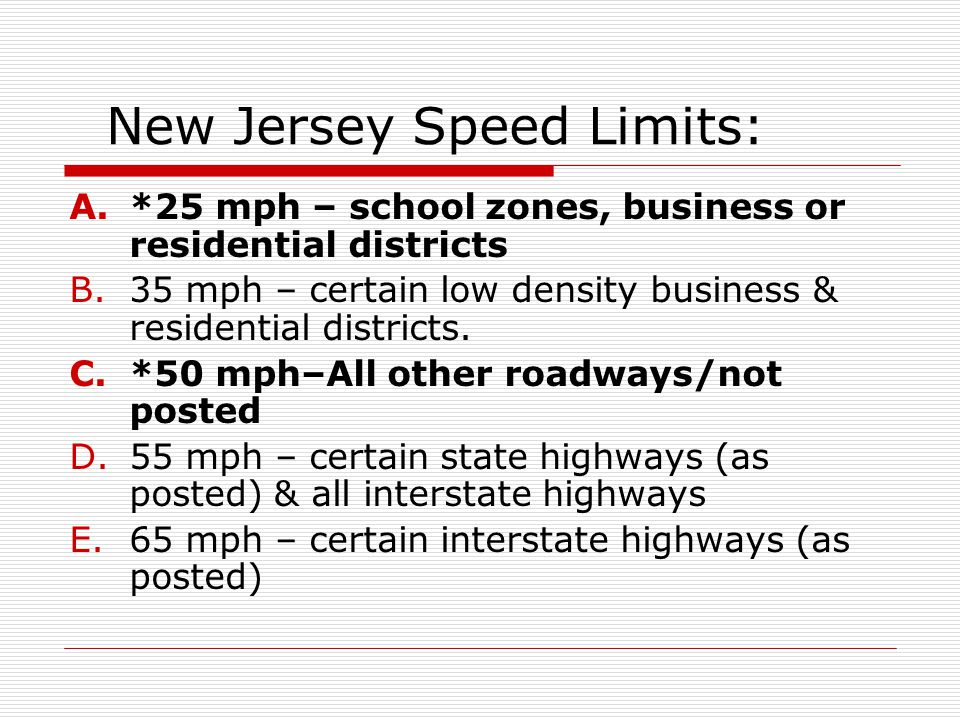 New Jersey Speed Limits: