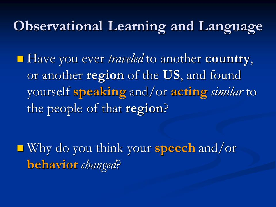 Observational Learning and Language