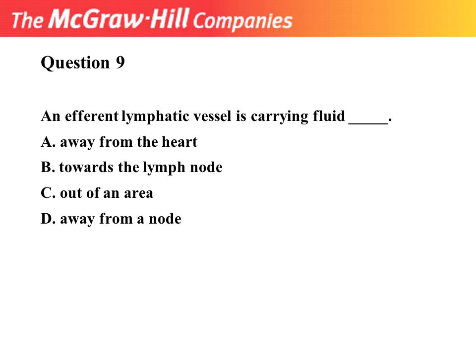 Question 9 An efferent lymphatic vessel is carrying fluid _____.