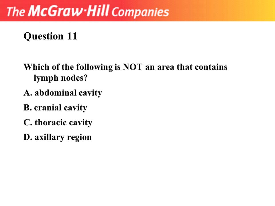 Question 11 Which of the following is NOT an area that contains lymph nodes A. abdominal cavity.