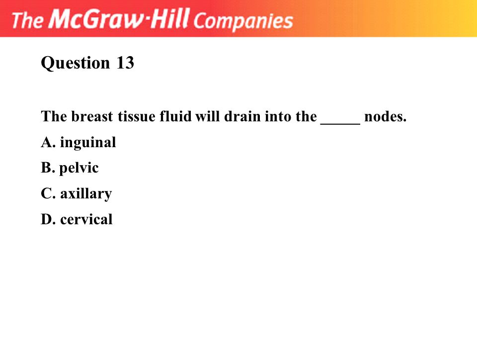 Question 13 The breast tissue fluid will drain into the _____ nodes.