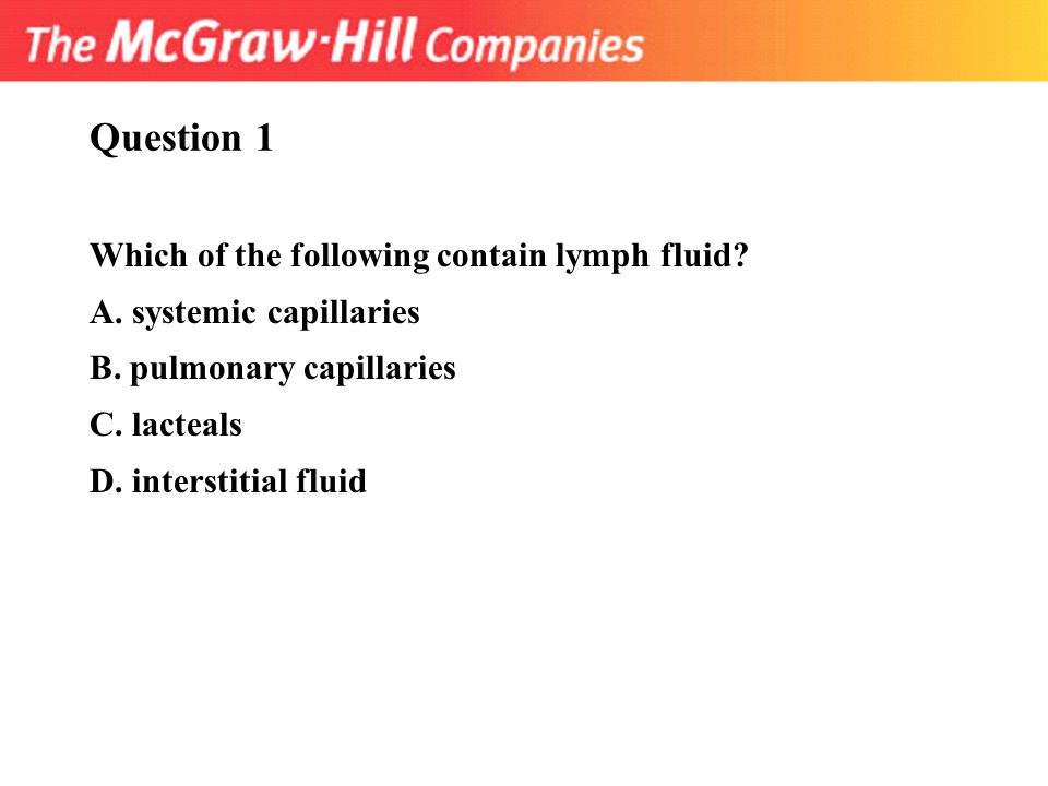 Question 1 Which of the following contain lymph fluid