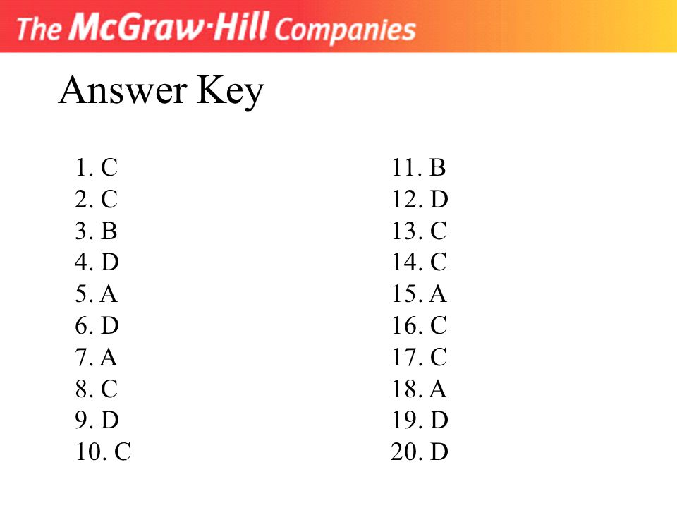 Answer Key 1. C 2. C 3. B 4. D 5. A 6. D 7. A 8. C 9. D 10. C 11. B