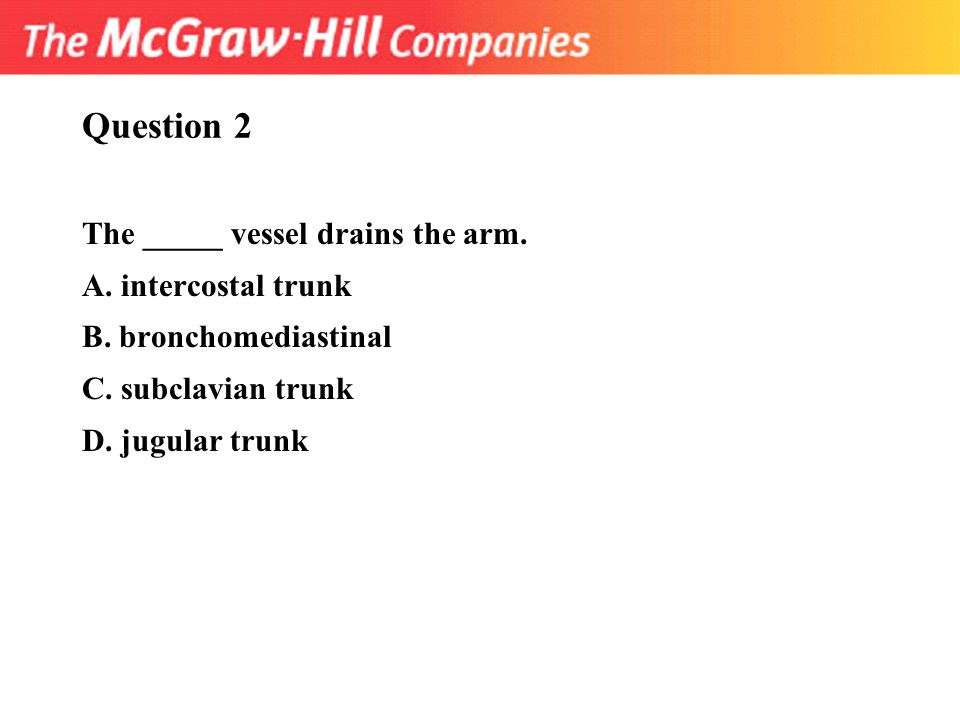 Question 2 The _____ vessel drains the arm. A. intercostal trunk