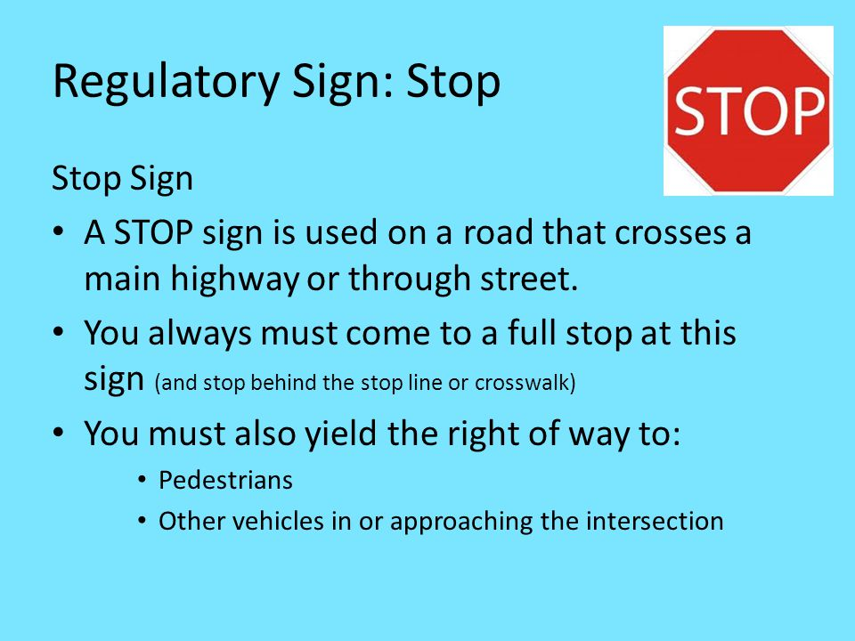 Regulatory Sign: Stop Stop Sign