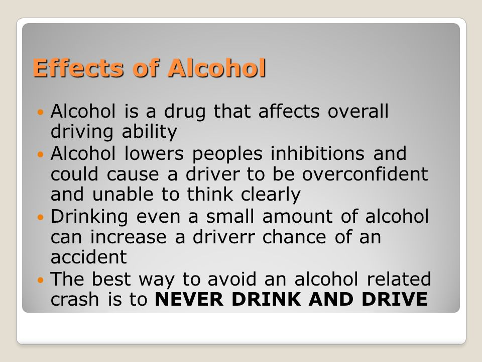 an overview of the ways in which alcohol affects health Alcohol is a depressant, which means it slows the  more alcohol causes greater  changes in the brain,.