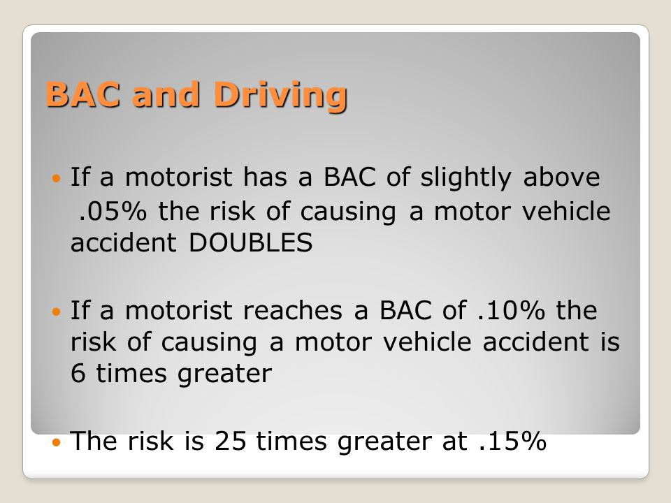 BAC and Driving If a motorist has a BAC of slightly above