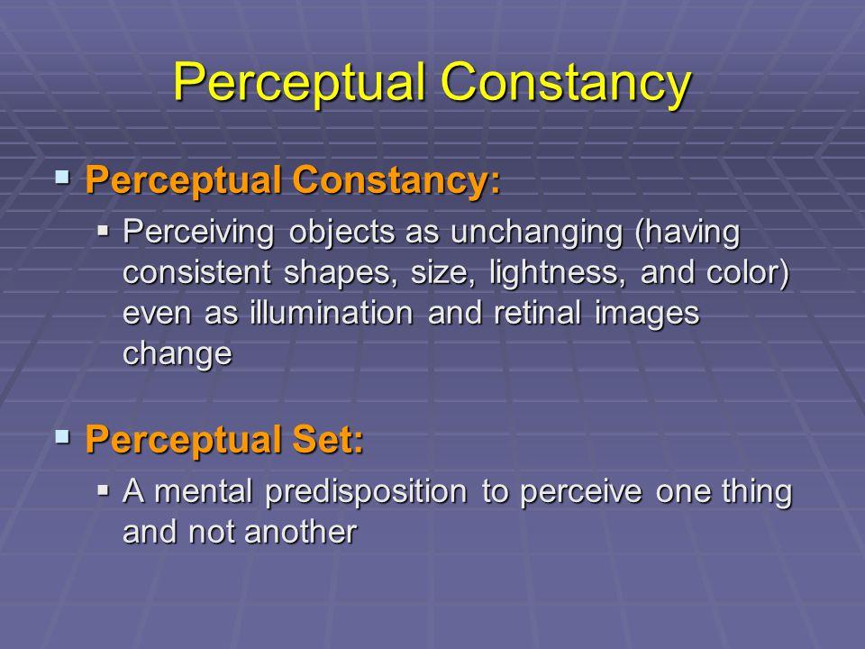 Perceptual Constancy Perceptual Constancy: Perceptual Set: