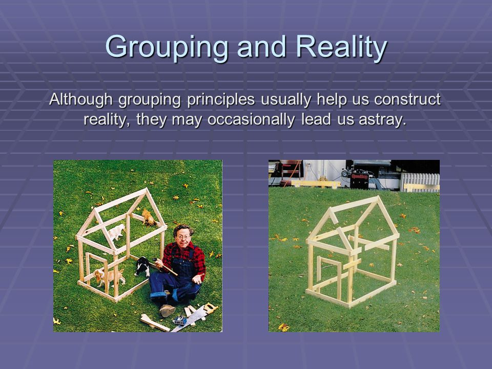 Grouping and Reality Although grouping principles usually help us construct reality, they may occasionally lead us astray.
