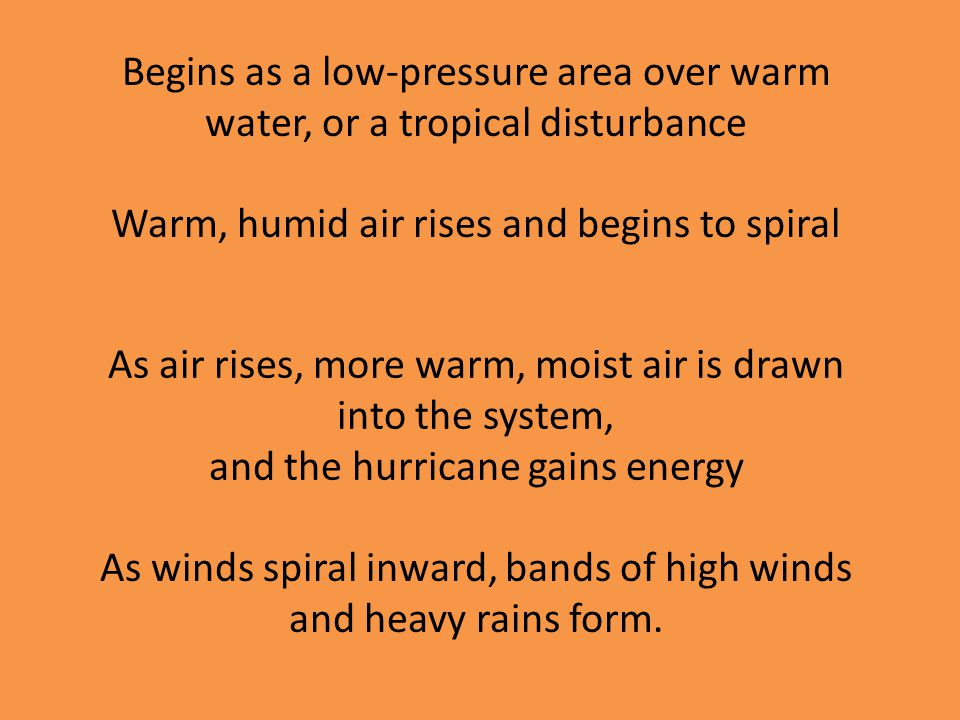 Warm, humid air rises and begins to spiral