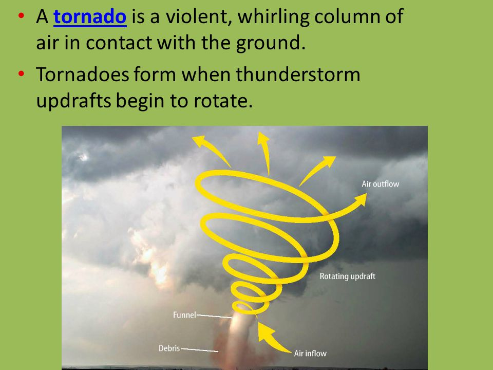 A tornado is a violent, whirling column of air in contact with the ground.