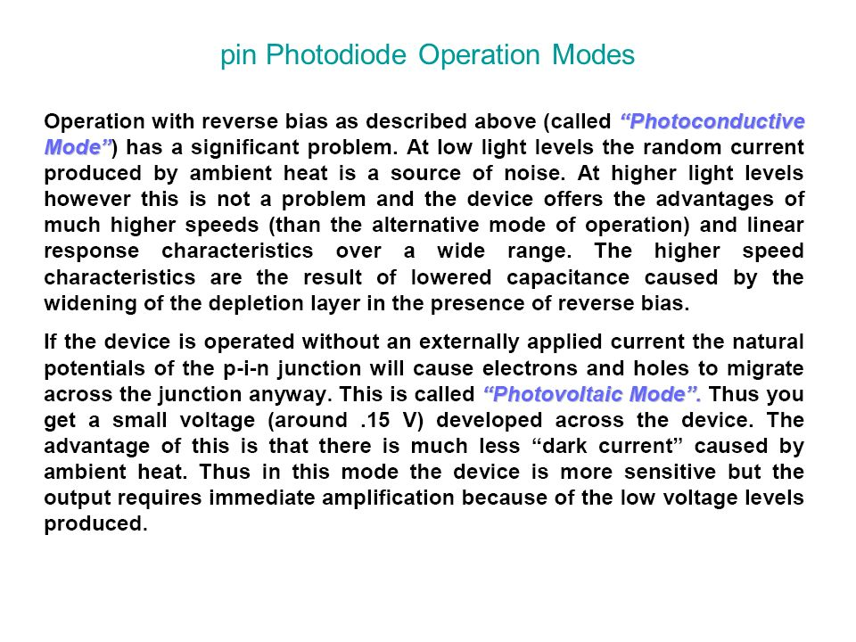pin Photodiode Operation Modes