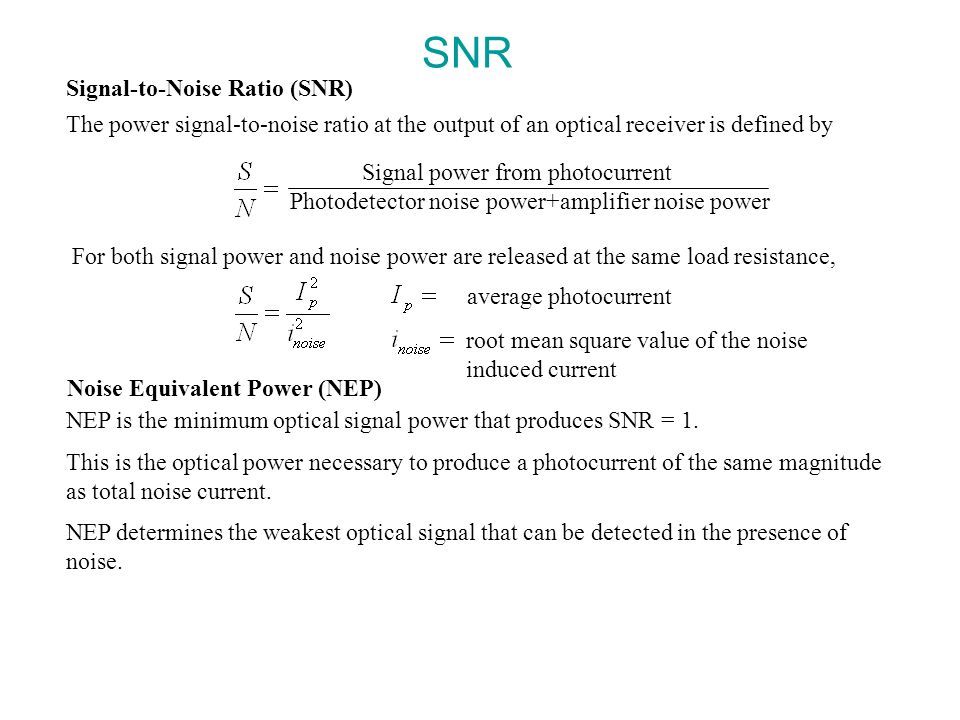 SNR Signal-to-Noise Ratio (SNR)