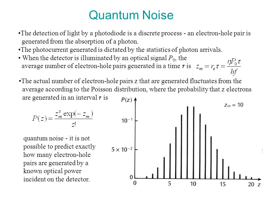Quantum Noise The detection of light by a photodiode is a discrete process - an electron-hole pair is.