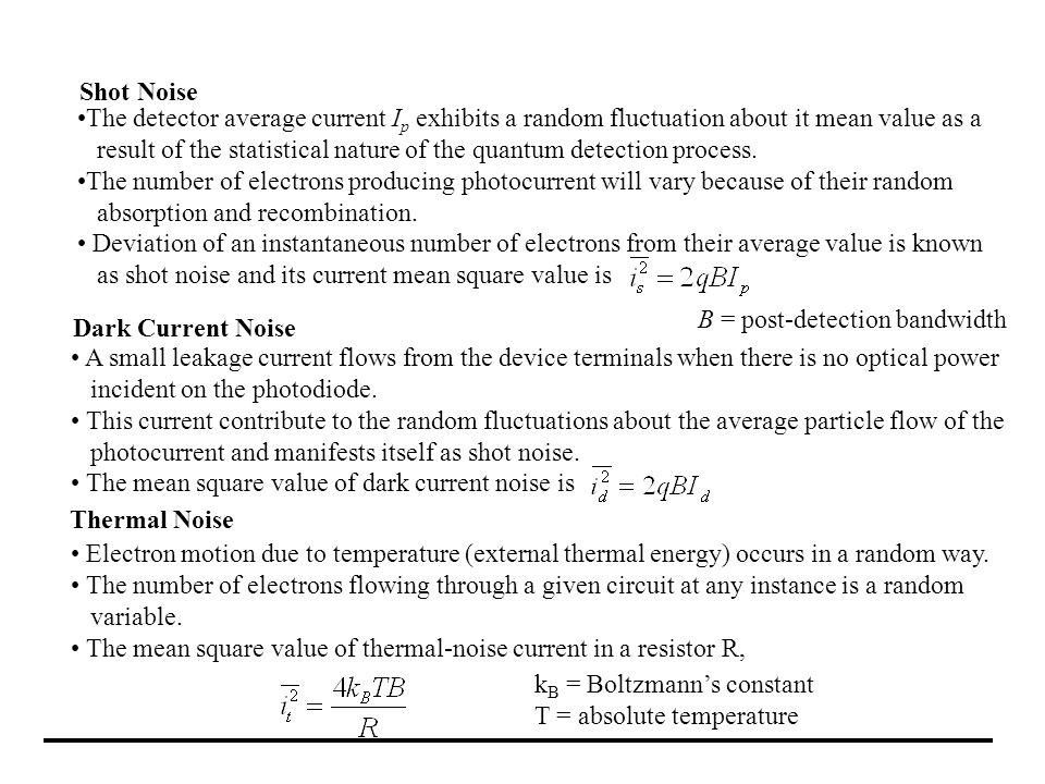 Shot NoiseThe detector average current Ip exhibits a random fluctuation about it mean value as a.