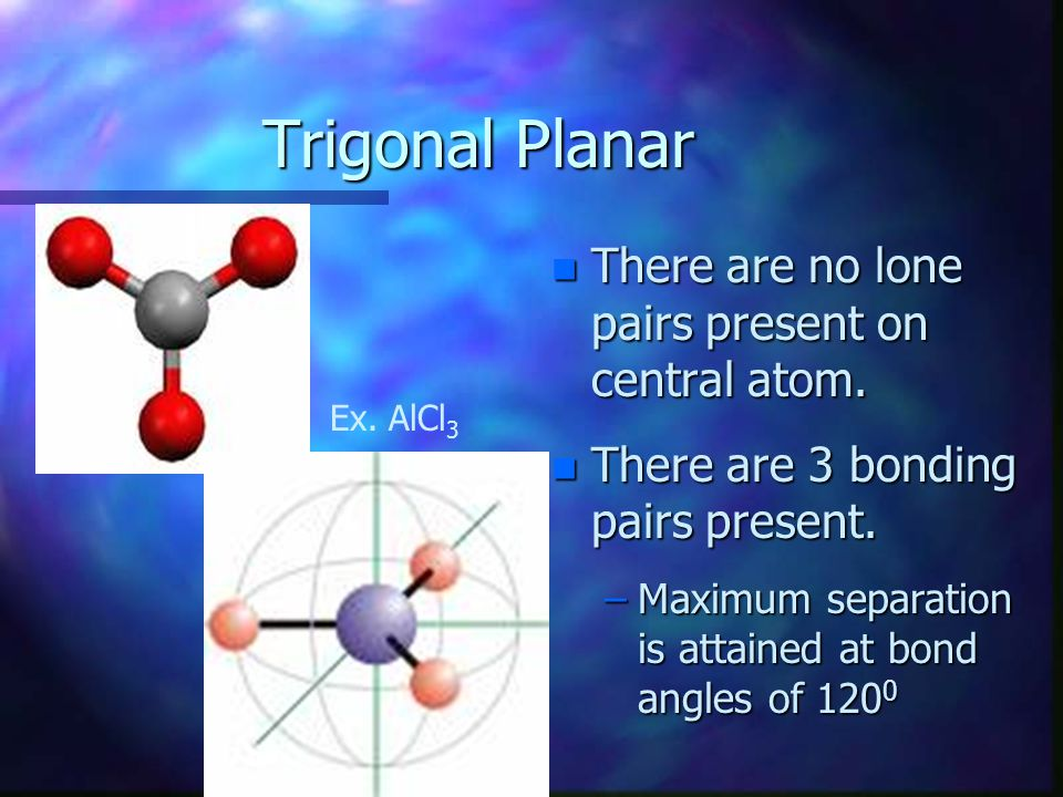 Trigonal Planar There are no lone pairs present on central atom.