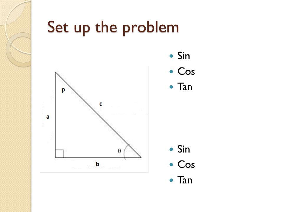Set up the problem Sin Cos Tan