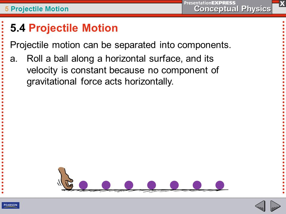 5.4 Projectile Motion Projectile motion can be separated into components.