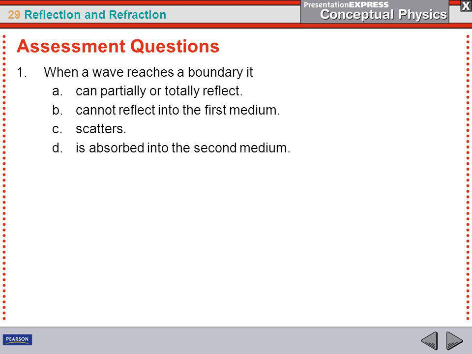 Assessment Questions When a wave reaches a boundary it