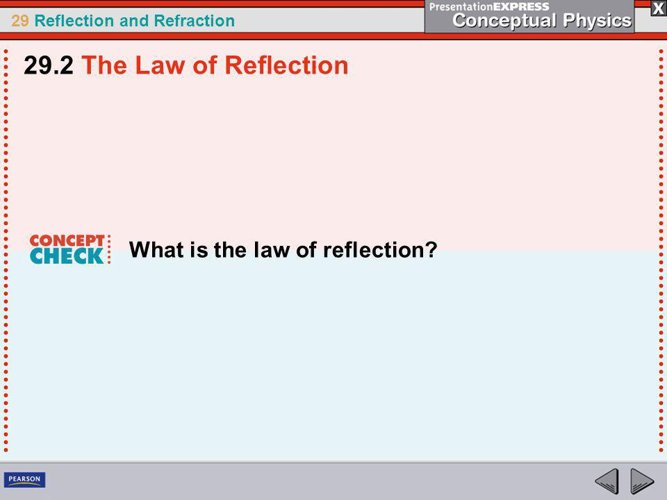 29.2 The Law of Reflection What is the law of reflection