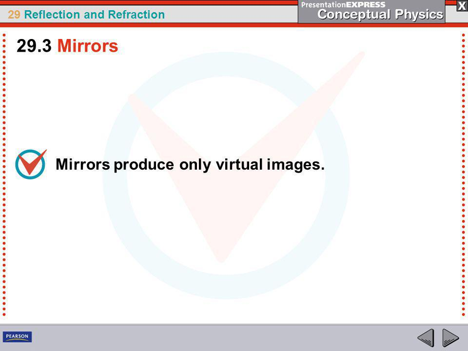 29.3 Mirrors Mirrors produce only virtual images.