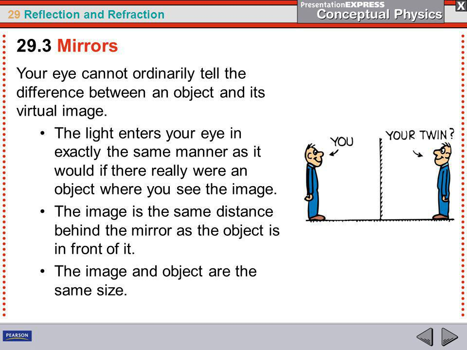29.3 Mirrors Your eye cannot ordinarily tell the difference between an object and its virtual image.