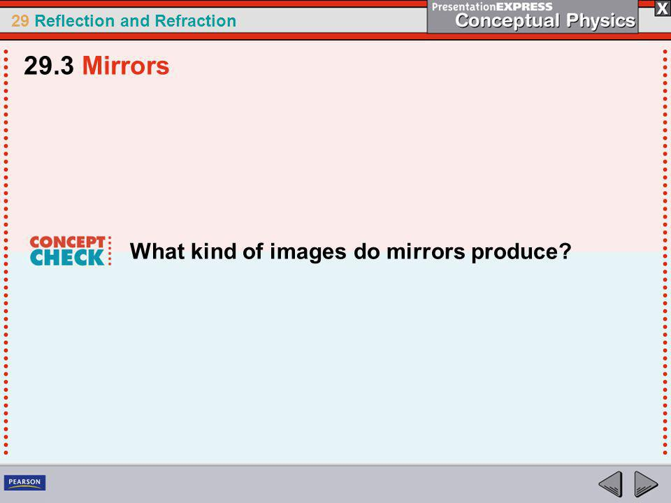 29.3 Mirrors What kind of images do mirrors produce